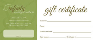 Infinity Massage gift certificate