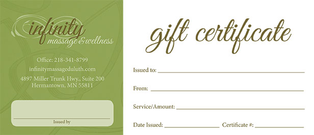 Gift certificates infinity massage wellness for Massage therapy gift certificate template